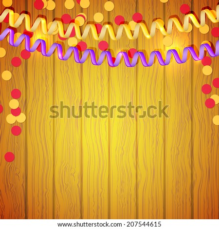 Festive serpentine and confetti on a wooden background. Vector illustration. - stock vector