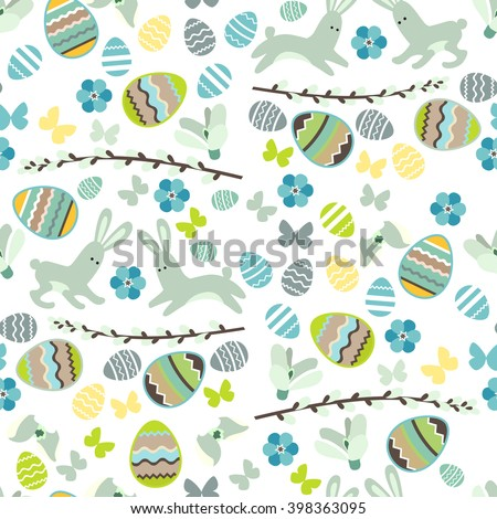 Festive spring seamless pattern. White endless texture with eggs and rabbits. . For your design, greeting cards,  wrappings, fabrics, announcements. - stock vector