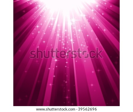 Festive square abstract background with stars descending on rays of purple light. 7 global colors, background controlled by 1 linear gradient. - stock vector