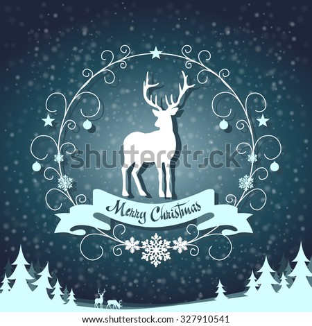 festive symbol in a frame with swirls on snowing background - stock vector
