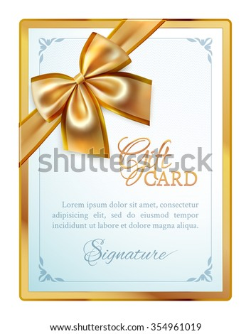 Festive template of gift card with gold ribbon, bow and place for congratulate text in the golden frame - stock vector