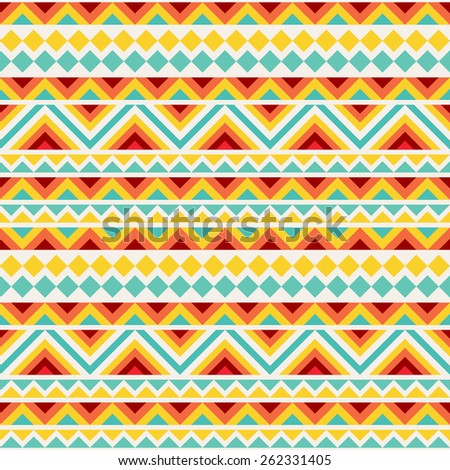 Festive tribal seamless pattern. Repeatable geometric ornament in bright cheerful colors. Vector file is EPS8. - stock vector