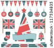 festive union jack christmas objects with tree, bunting and flags, isolated on white - stock vector