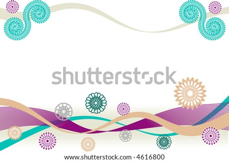 Festive wide vector background with ribbons and abstract flowers. - stock vector