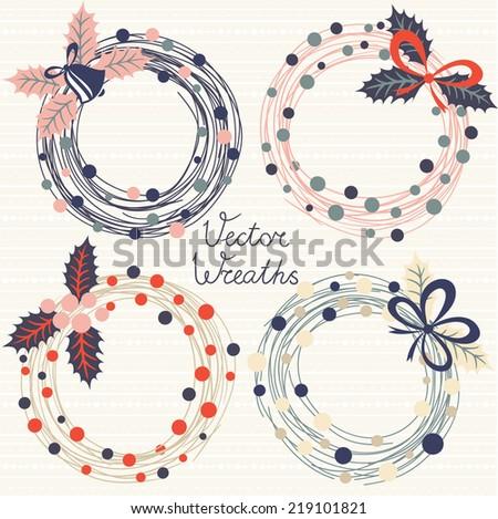 Festive wreaths. Vector set - stock vector