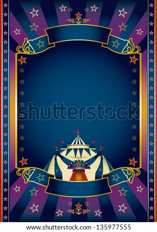 festivities purple circus. A purple and blue circus poster for your show. - stock vector