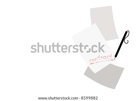 "few paper pages with ""contract"" label. good use like background - stock vector"