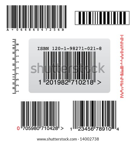 few types of random barcodes - stock vector