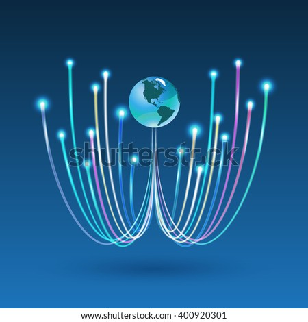 fiber optic connection for business communication and network technology. Vector illustration can use for brochure, infographic, website. - stock vector