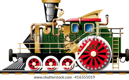 Fictional Steampunk Steam locomotive on white background side view - stock vector