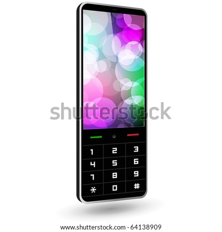Fictitious phone 3 (black, with wallpaper). Vector Illustration. - stock vector