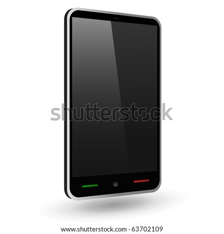 Fictitious touch smartphone 2 (black). Vector Illustration. - stock vector