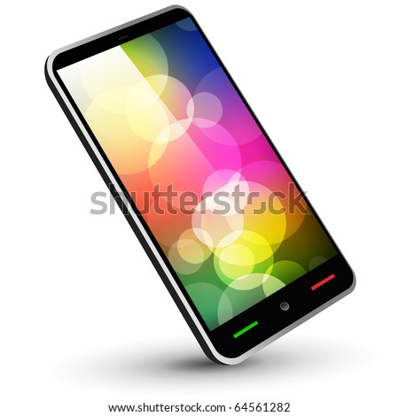 Fictitious touch smartphone 3 (black, with wallpaper) - Original design. Vector Illustration. - stock vector