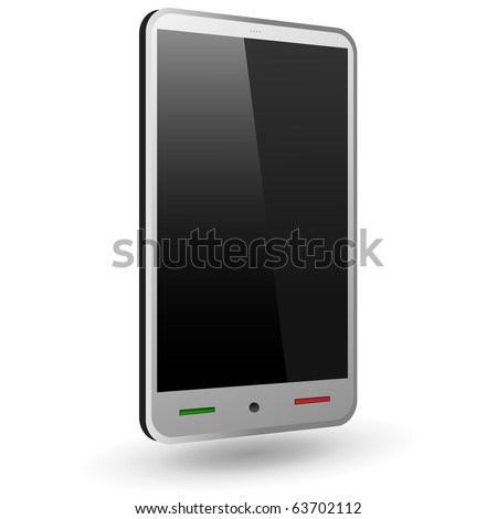 Fictitious touch smartphone 1 (silver). Vector Illustration. - stock vector