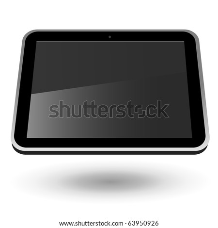 Fictitious touch tablet PC 2 (black, horizontal view). Editable vector Illustration. - stock vector
