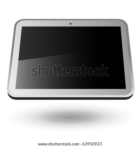 Fictitious touch tablet PC 4 (silver, horizontal view). Editable vector Illustration. - stock vector