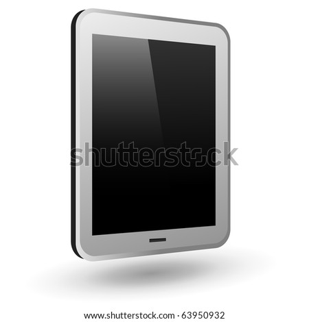 Fictitious touch tablet PC 3 (silver, vertical view). Editable vector Illustration. - stock vector
