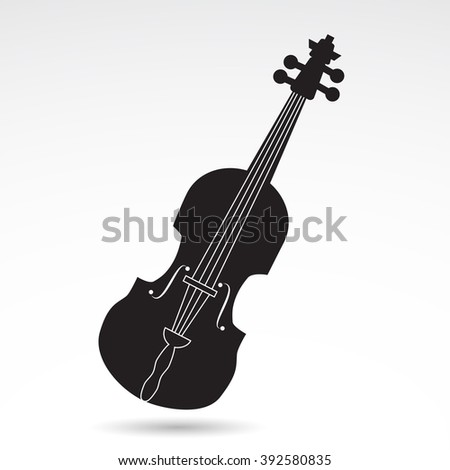 Fiddle, violin, music instrument icon isolated on white background. Vector art. - stock vector