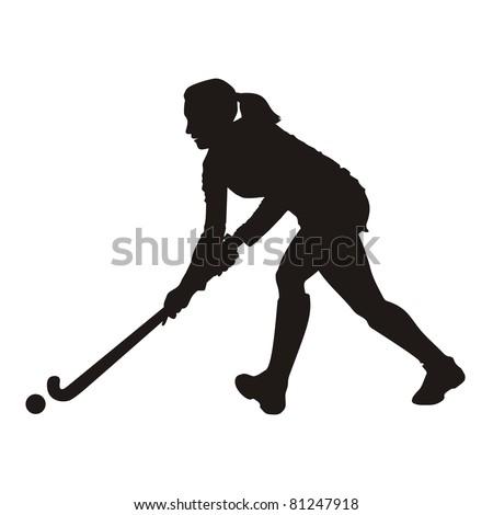 Field Hockey player silhouette - stock vector