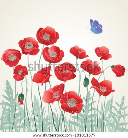 Field of Red Poppies with Blue Butterfly - stock vector