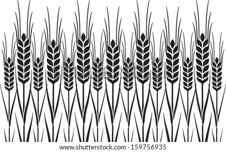 Field of Wheat, Barley or Rye vector visual graphic repeat pattern, black on white background, ideal for bread packaging, beer labels etc. - stock vector