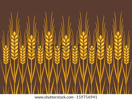 Field of Wheat, Barley or Rye vector visual graphic repeat pattern, golden yellow on natural brown background, ideal for bread packaging, beer labels etc. - stock vector