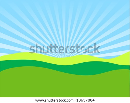 Field on a background of the sky - stock vector