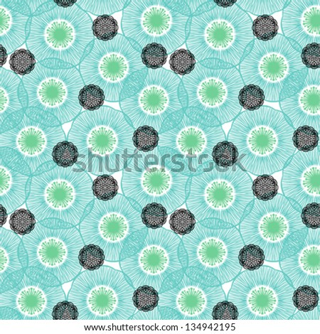 Field or meadow full of blue poppies and abstract flowers in 50s style. Texture for web, print, textile, wallpaper, wrapping paper. Concept of summer, gardening, organic products, natural growth, land - stock vector