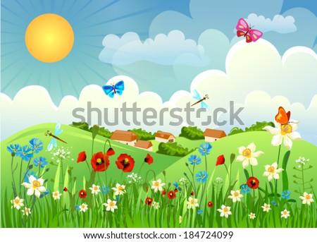 Field with flowers, butterflies, dragonflies - stock vector