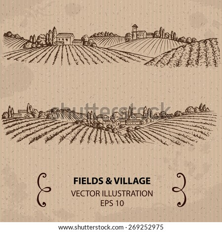 Fields and Village. Hand drawn Vector Illustration - stock vector