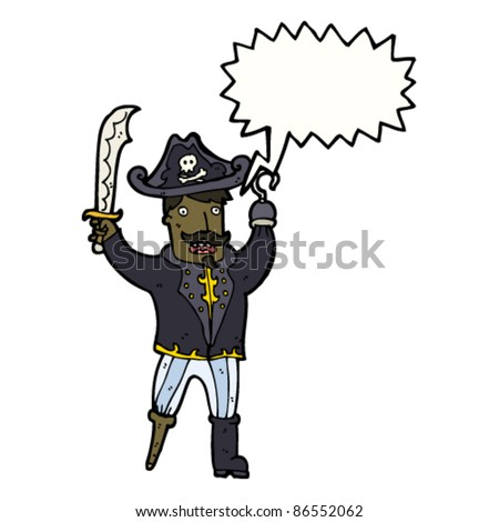 fierce cartoon pirate captain - stock vector