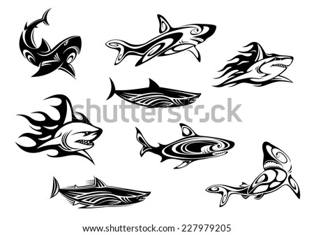 Fierce shark icons swimming underwater, some trailing flames, in black and white vector illustrations for tattoo or mascot design - stock vector