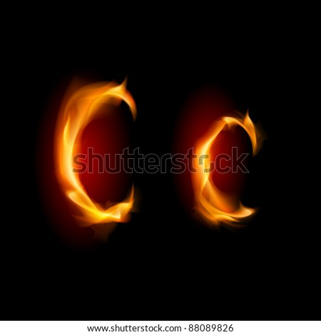 Fiery font. Letter C. Illustration on black background - stock vector