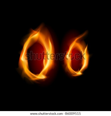 Fiery font. Letter O. Illustration on black background - stock vector