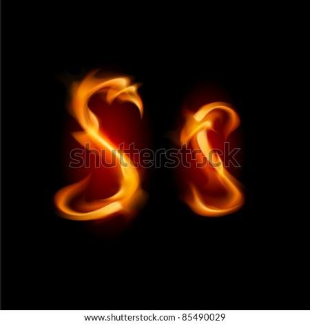 Fiery font. Letter S. Illustration on black background - stock vector