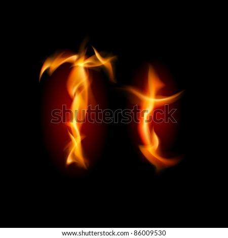 Fiery font. Letter T. Illustration on black background - stock vector
