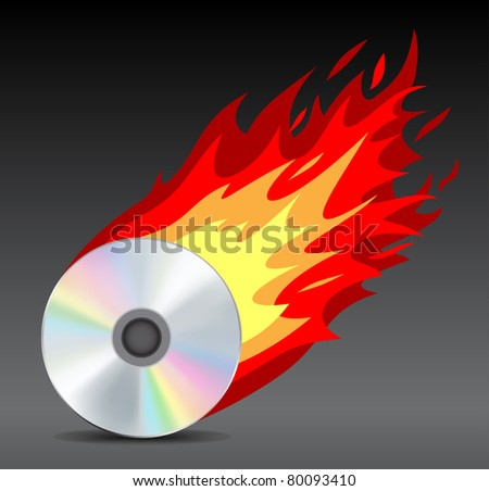 Fiery mesh disk on the dark background - stock vector