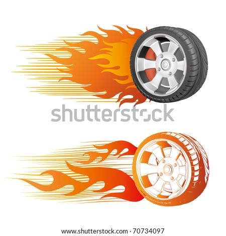fiery racing tire - stock vector