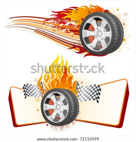 fiery racing tire,automobile race element - stock vector