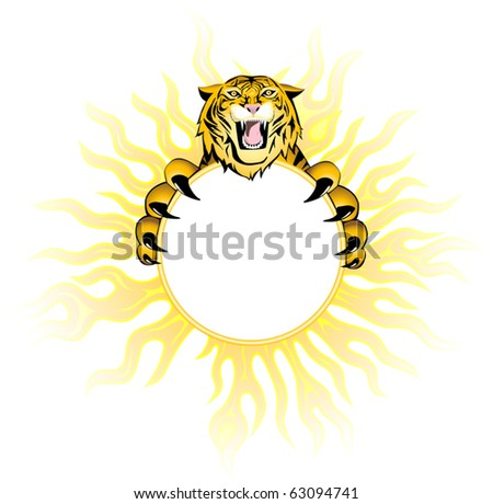 Fiery  tiger. - stock vector