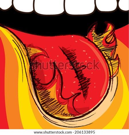 Fiery tongue - stock vector