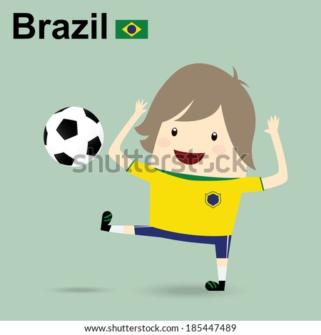 fifa world cup 2014 brazil national football team, businessman happy is playing soccer relax idea - stock vector