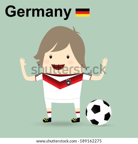 fifa world cup 2014 germany national football team, businessman happy is playing soccer - stock vector