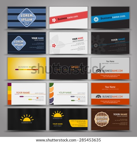 Fifteen colorful business card template - stock vector