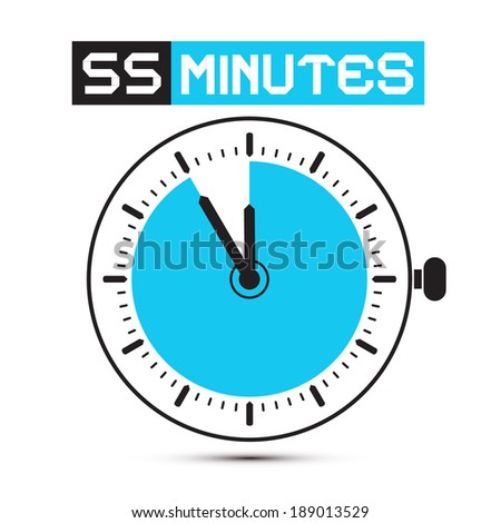 Fifty Five Minutes Stop Watch - Clock Vector Illustration - stock vector