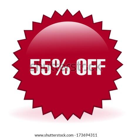 Fifty Five Percent Discount Sticker - stock vector