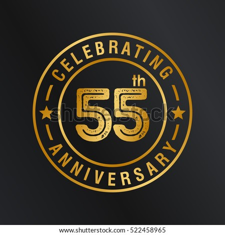 Fifty FIve years anniversary celebration logotype. 55th year anniversary logo collection. Anniversary label. Anniversary logo template. Anniversary sign. Vector Illustration