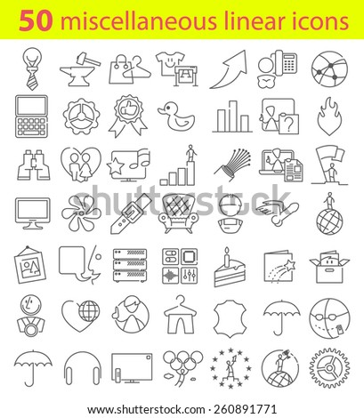 Fifty miscellaneous vector linear icons bundle