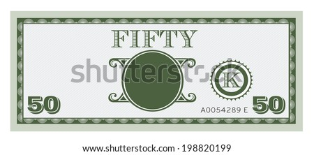 Fifty money bill image. With space to add your text, information and image. - stock vector
