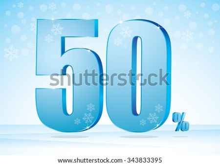 fifty percent on snow background - stock vector